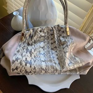 Stunning tote beige snakeskin and blush leather